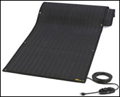 Portable WarmTrax snow melting traction mat.