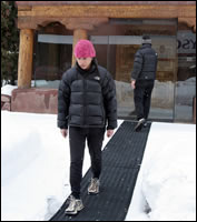 Portable heated mats provide safe walkways.