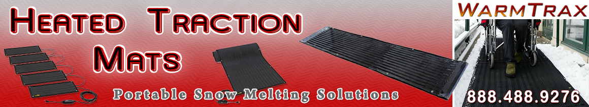 Portable heated snow melting traction mats